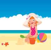 Girl playing on the beach Royalty Free Stock Images