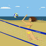 Girl playing beach volleyball Stock Photos