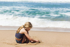 Girl Playing Beach royalty free stock images
