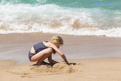 Girl Playing Beach stock photo