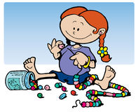 Girl playing with beads Royalty Free Stock Photo