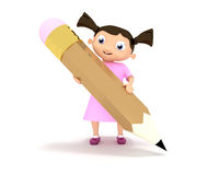 Girl with big  pencil Stock Images