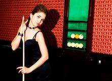 Girl playing billird Royalty Free Stock Images