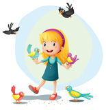 A girl playing with the birds Stock Image