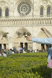 Girl playing with birds in the park next to Notre Dame Cathedral, Paris, France Stock Photos