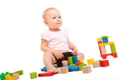 Girl playing with blocks Royalty Free Stock Photography