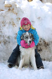 Girl playing with a Border Collie. In nature Stock Photography