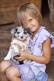 Girl playing with a Border Collie Stock Photography