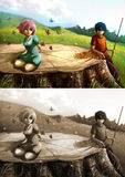A girl is playing with butterflies on a giant stump with her boy Stock Images