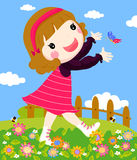 Girl playing butterfly Royalty Free Stock Photos