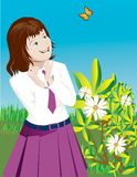 Girl playing with butterly. In the garden with flowers and leaves around vector illustration