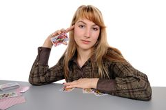 Girl and playing cards Stock Photo