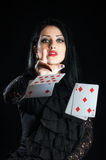 Girl With Playing Cards Stock Photo