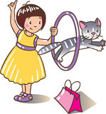 Girl playing with cat Royalty Free Stock Images