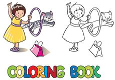 Girl playing with cat. Coloring book Stock Images