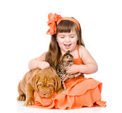 Girl playing with cat and dog. isolated on white background Stock Photo