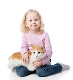 Girl playing with cat. looking at camera. Isolated on white back Royalty Free Stock Photos