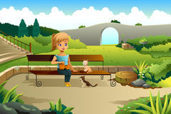Girl Playing with Cats. A vector illustration of little girl playing with cats in a park Stock Photo