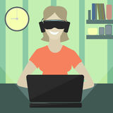 Girl playing computer games in virtual reality glasses. Girl playing computer game,  virtual reality glasses Stock Photos
