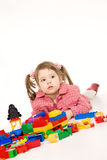 Girl playing with constraction kit Royalty Free Stock Image
