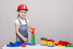 Girl playing in the constructor Stock Images