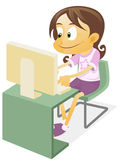 Girl playing a desktop computer. Illustration of a Tech Girl operating a desktop computer