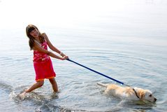 Girl playing dog Royalty Free Stock Photos