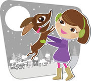 Girl playing with a dog stock illustration