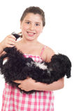 Girl playing with dog Royalty Free Stock Photo