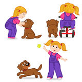 Girl playing with dog. Vector illustration, eps Stock Photo
