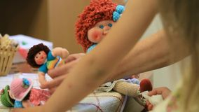 Girl Playing With Dolls stock video footage