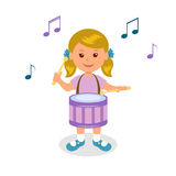 Girl playing drum. Isolated on white background cheerful baby playing drum Stock Image