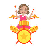Girl Playing Drums, Kid Performing On Stage, School Showcase Participant With Musical Artistic Talent Royalty Free Stock Images