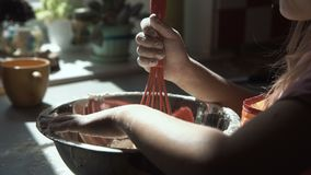 Girl playing with flour while preparing dough. stock video