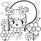 Girl playing in the flower garden coloring book page Royalty Free Stock Photo