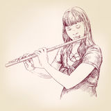 Girl playing the flute hand drawn vector llustration sketch Stock Images