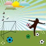 Girl playing football Stock Photo