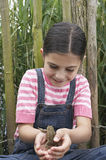 Girl Playing With Frog Stock Photography