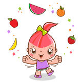 Girl playing with fruit Royalty Free Stock Images