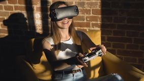Girl playing game in vr helm stock video footage