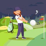 Girl Playing Golf at Nigh Course. Sport Lifestyle