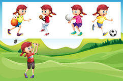 Girl playing golf and other sports. Illustration Royalty Free Stock Photo