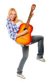 Girl playing the guitar. Isolated over white Royalty Free Stock Photography