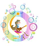 Girl playing guitar. Abstract background with girl playing guitar Stock Image