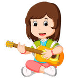 A Girl Playing Guitar. Illustration of a Girl Playing Guitar royalty free illustration