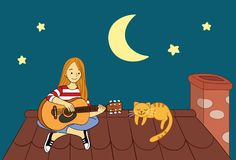 Girl Playing Guitar at the Roof Top at Midnight Cute Vector Illustration Royalty Free Stock Image