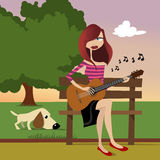 Girl playing guitar vector. Cartoon girl playing guitar illustration vector