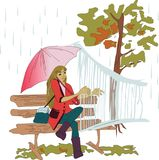 Girl playing the harp. autumn rainy weather. Young plays on the instrument the girl in the rain. colored modern vector pattern Stock Image