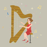 Girl playing harp musical instrument with string melody illustration Stock Images