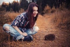 Girl playing with a hedgehog Stock Images